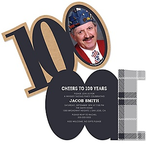100th Milestone Birthday - Dashingly Aged to Perfection - Personalized Shaped Photo Birthday Party Invitations - Set of 12