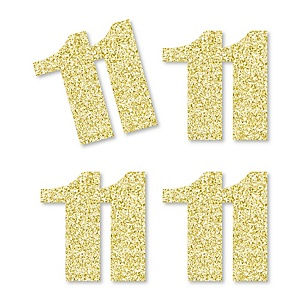 Gold Glitter 11 - No-Mess Real Gold Glitter Cut-Out Numbers - 11th Birthday Party Confetti - Set of 24