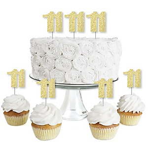 Gold Glitter 11 - No-Mess Real Gold Glitter Dessert Cupcake Toppers - 11th Birthday Party Clear Treat Picks - Set of 24