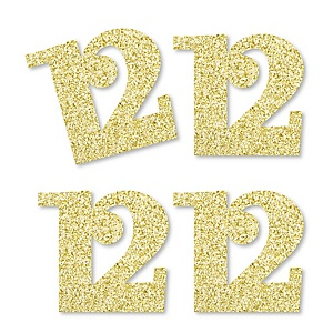Gold Glitter 12 - No-Mess Real Gold Glitter Cut-Out Numbers - 12th Birthday Party Confetti - Set of 24