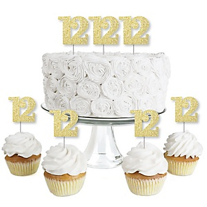 Gold Glitter 12 - No-Mess Real Gold Glitter Dessert Cupcake Toppers - 12th Birthday Party Clear Treat Picks - Set of 24