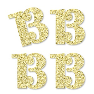 Gold Glitter 13 - No-Mess Real Gold Glitter Cut-Out Numbers - 13th Birthday Party Confetti - Set of 24