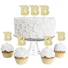Gold Glitter 13 - No-Mess Real Gold Glitter Dessert Cupcake Toppers - 13th Birthday Party Clear Treat Picks - Set of 24