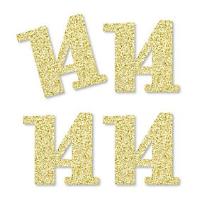 Gold Glitter 14 - No-Mess Real Gold Glitter Cut-Out Numbers - 14th Birthday Party Confetti - Set of 24
