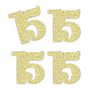Gold Glitter 15 - No-Mess Real Gold Glitter Cut-Out Numbers - 15th Birthday Party Confetti - Set of 24