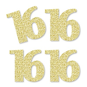 Gold Glitter 16 - No-Mess Real Gold Glitter Cut-Out Numbers - 16th Birthday Party Confetti - Set of 24