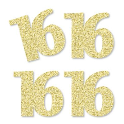gold glitter 16 nomess real gold glitter cutout numbers 16th birthday party confetti set of 25