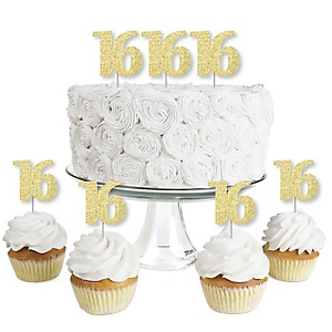 Gold Glitter 16 - No-Mess Real Gold Glitter Dessert Cupcake Toppers - 16th Birthday Party Clear Treat Picks - Set of 24