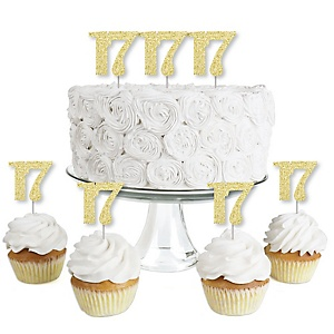 Gold Glitter 17 - No-Mess Real Gold Glitter Dessert Cupcake Toppers - 17th Birthday Party Clear Treat Picks - Set of 24