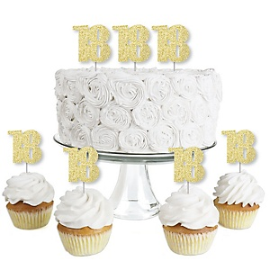 Gold Glitter 18 - No-Mess Real Gold Glitter Dessert Cupcake Toppers - 18th Birthday Party Clear Treat Picks - Set of 24