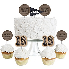 18th Milestone Birthday - Time To Adult - Dessert Cupcake Toppers - Birthday Party Clear Treat Picks - Set of 24