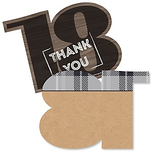 18th Milestone Birthday - Time To Adult - Shaped Thank You Cards - Birthday Party Thank You Note Cards with Envelopes - Set of 12