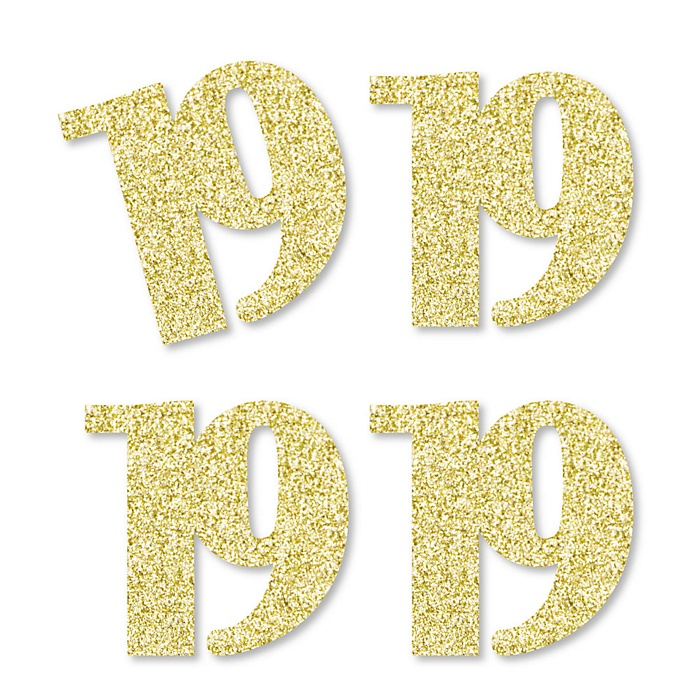 Gold Glitter 19 No Mess Real Gold Glitter Cut Out Numbers 19th Birthday Party Confetti Set Of 24