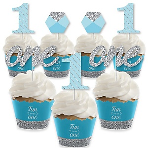 1st Birthday Boy - Fun to be One - Cupcake Decorations - First Birthday Party Cupcake Wrappers and Treat Picks Kit - Set of 24