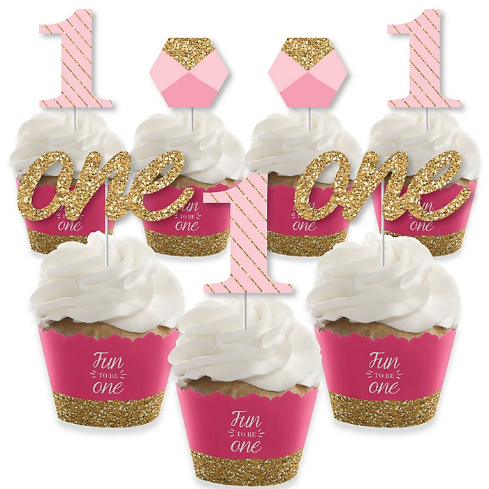 1st Birthday Girl - Fun to be One - Cupcake Decorations - First Birthday Party Cupcake Wrappers and Treat Picks Kit - Set of 24