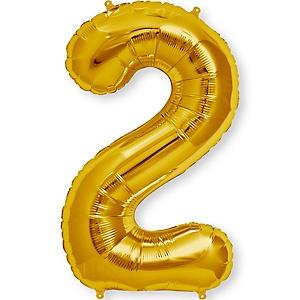 """Gold - """"2"""" Shaped - Mylar Balloon - 34"""""""