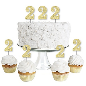 Gold Glitter 2 - No-Mess Real Gold Glitter Dessert Cupcake Toppers - 2nd Birthday Party Clear Treat Picks - Set of 24
