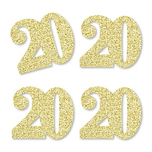 Gold Glitter 20 - No-Mess Real Gold Glitter Cut-Out Numbers - 20th Birthday Party Confetti - Set of 24