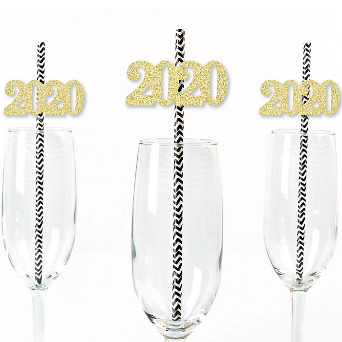 Gold Glitter 2020 Party Straws - No-Mess Real Gold Glitter Cut-Out Numbers & Decorative New Years Eve and Chinese New Years Party Paper Straws - Set of 24