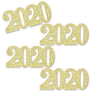 Gold Glitter 2020 - No-Mess Real Gold Glitter Cut-Out Numbers - Graduation & New Year's Eve Party Confetti - Set of 24