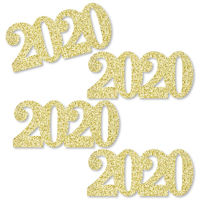 Gold Glitter 2020 - No-Mess Real Gold Glitter Cut-Out Numbers - 2020 Graduation Party Confetti - Set of 24