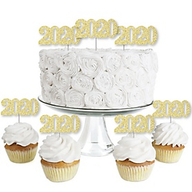 Gold Glitter 2020 - No-Mess Real Gold Glitter Dessert Cupcake Toppers - 2020 Graduation Party Clear Treat Picks - Set of 24