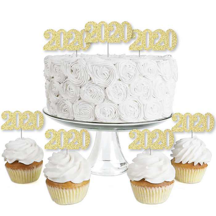 Gold Glitter 2020 - No-Mess Real Gold Glitter Dessert Cupcake Toppers - New Years Eve and Chinese New Years Party Clear Treat Picks - Set of 24
