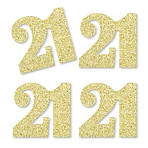 Gold Glitter 21 - No-Mess Real Gold Glitter Cut-Out Numbers - 21st Birthday Party Confetti - Set of 24