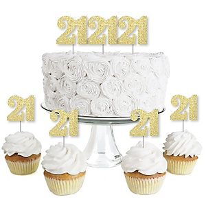 Gold Glitter 21 - No-Mess Real Gold Glitter Dessert Cupcake Toppers - 21st Birthday Party Clear Treat Picks - Set of 24