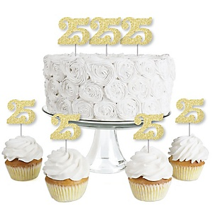 Gold Glitter 25 - No-Mess Real Gold Glitter Dessert Cupcake Toppers - 25th Birthday Party Clear Treat Picks - Set of 24