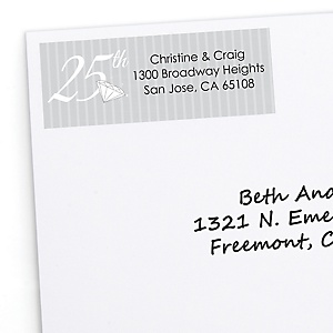 25th Anniversary - Personalized Wedding Anniversary Return Address Labels - 30 ct