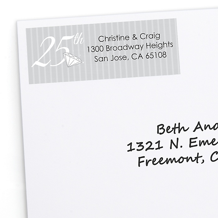 25th Anniversary - Personalized Wedding Anniversary Return Address Labels - 30 ct