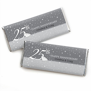 25th Anniversary - Personalized Candy Bar Wrappers Wedding Anniversary Party Favors - Set of 24