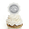 25th Anniversary - Personalized Wedding Anniversary Cupcake Pick and Sticker Kit - 12 ct
