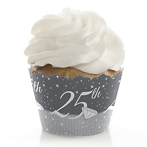 25th Anniversary - Wedding Anniversary Decorations - Party Cupcake Wrappers - Set of 12