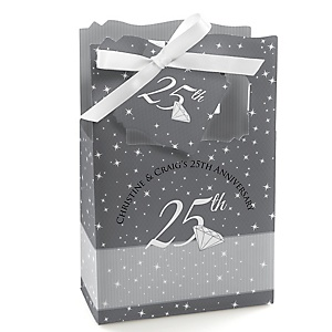 25th Anniversary - Personalized Wedding Anniversary Favor Boxes - Set of 12