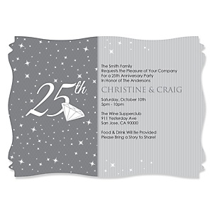 25th Anniversary - Personalized Wedding Anniversary Invitations - Set of 12