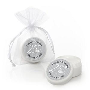 25th Anniversary - Personalized Wedding Anniversary Lip Balm Favors - Set of 12
