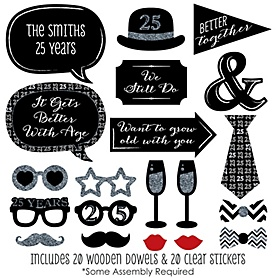 We Still Do - 25th Wedding Anniversary - 20 Piece Anniversary Party Photo Booth Props Kit