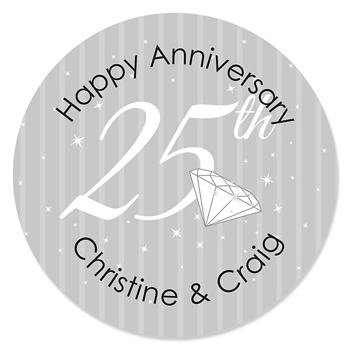 25th Anniversary - Personalized Wedding Anniversary Sticker Labels - 24 ct