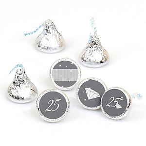 25th Anniversary - Round Candy Labels Wedding Anniversary Favors - Fits Hershey's Kisses - 108 ct