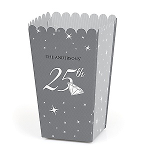 25th Anniversary - Personalized Anniversary Popcorn Favor Treat Boxes - Set of 12