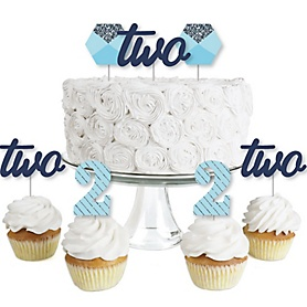 2nd Birthday Boy - Two Much Fun - Dessert Cupcake Toppers - Second Birthday Party Clear Treat Picks - Set of 24