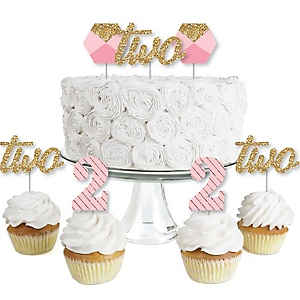 2nd Birthday Girl - Two Much Fun - Dessert Cupcake Toppers - Second Birthday Party Clear Treat Picks - Set of 24