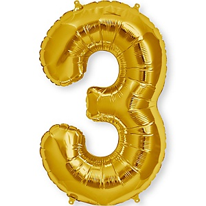 "Gold - ""3"" Shaped - Mylar Balloon - 34"""