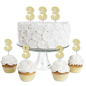 Gold Glitter 3 - No-Mess Real Gold Glitter Dessert Cupcake Toppers - 3rd Birthday Party Clear Treat Picks - Set of 24
