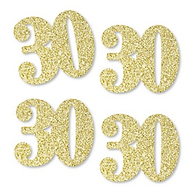 Gold Glitter 30 - No-Mess Real Gold Glitter Cut-Out Numbers - 30th Birthday Party Confetti - Set of 24