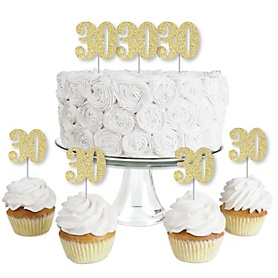 Gold Glitter 30 - No-Mess Real Gold Glitter Dessert Cupcake Toppers - 30th Birthday Party Clear Treat Picks - Set of 24