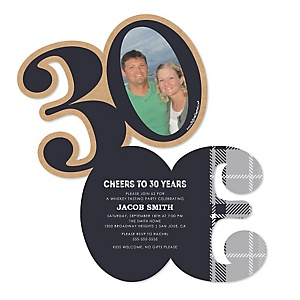 30th Milestone Birthday - Dashingly Aged to Perfection - Personalized Shaped Photo Birthday Party Invitations - Set of 12