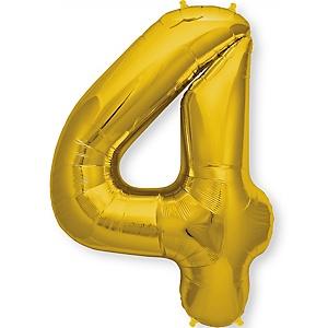 """Gold - """"4"""" Shaped - Mylar Balloon - 34"""""""